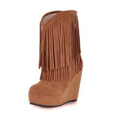 Suede Wedge Heel Closed Toe Wedges Ankle Boots With Tassel shoes