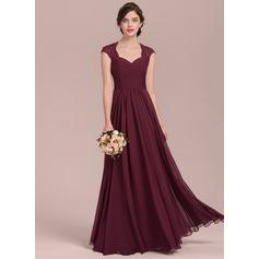 A-Line/Princess Sweetheart Floor-Length Chiffon Lace Bridesmaid Dress With Ruffle Beading (007126456)