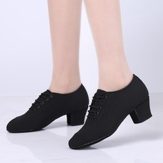 Women's Fabric Flats Practice With Lace-up Dance Shoes