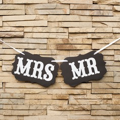 """Mr & Mrs"" Kort papper Foto booth rekvisita/Banner"