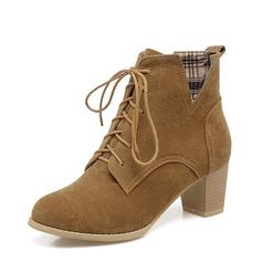Femmes Suède Talon bottier Escarpins Bottines avec Dentelle chaussures