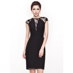 Sheath/Column Scoop Neck Knee-Length Chiffon Lace Cocktail Dress (016065514)