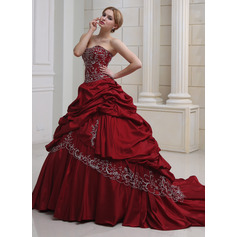 Ball-Gown Sweetheart Royal Train Taffeta Wedding Dress With Embroidered Ruffle Beading (002011490)
