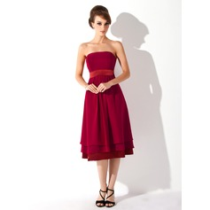 A-Line Strapless Knee-Length Chiffon Maternity Bridesmaid Dress With Ruffle (045004379)