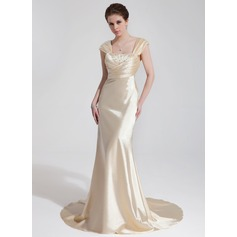 Trumpet/Mermaid Sweetheart Court Train Charmeuse Wedding Dress With Ruffle Beading Sequins