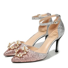Women's Sparkling Glitter Spool Heel Closed Toe Slingbacks With Imitation Pearl Crystal