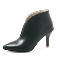 Donna Similpelle Tacco a spillo Stiletto Punta chiusa Stivali Stivali alla caviglia con Fascia di gomma scarpe