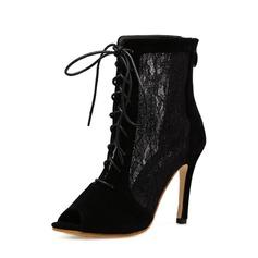 Frauen Veloursleder Lace Stöckel Absatz Absatzschuhe Stiefel Peep Toe Stiefelette mit Reißverschluss Zuschnüren Schuhe
