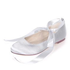 Kids' Silk Like Satin Flat Heel Closed Toe With Lace-up