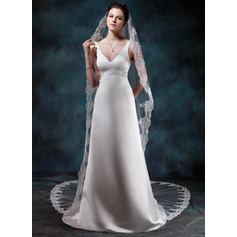 Sheath/Column V-neck Court Train Satin Wedding Dress With Beading
