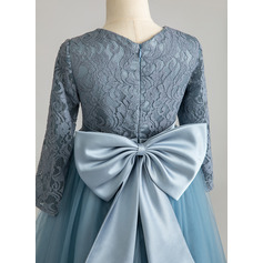 Ball-Gown/Princess Floor-length Flower Girl Dress - Tulle/Lace Long Sleeves Scoop Neck With Bow(s) (010225330)