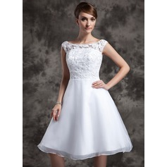 A-Line/Princess Scoop Neck Knee-Length Organza Lace Wedding Dress