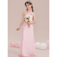 Sheath/Column One-Shoulder Floor-Length Chiffon Junior Bridesmaid Dress With Ruffle Lace Beading