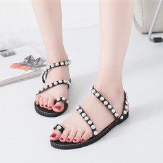 Women's Microfiber Leather Flat Heel Sandals Peep Toe With Imitation Pearl shoes