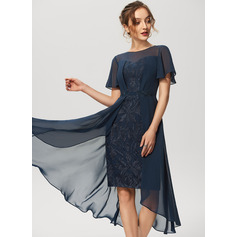 Sheath/Column Scoop Neck Asymmetrical Chiffon Lace Cocktail Dress (016230187)