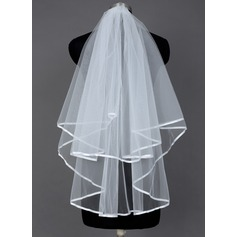 Two-tier Fingertip Bridal Veils With Ribbon Edge (006035723)