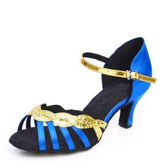 Satin Sparkling Glitter Heels Sandals Latin With Buckle Hollow-out Dance Shoes