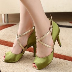 Women's Satin Heels Pumps Latin With Ankle Strap Dance Shoes (053108863)
