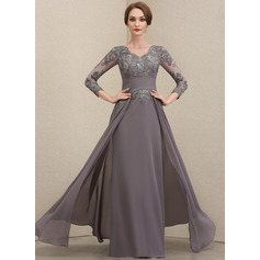 A-Line V-neck Floor-Length Chiffon Lace Evening Dress With Ruffle