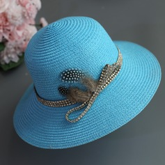 Ladies' Elegant/Simple/Eye-catching Raffia Straw With Bowknot Straw Hat