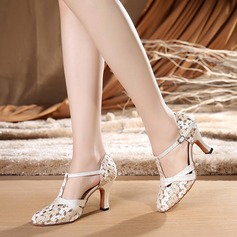 Women's Fabric Heels Ballroom Swing With T-Strap Dance Shoes