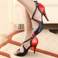 Women's Leatherette Heels Pumps Latin With Ankle Strap Dance Shoes (053108821)