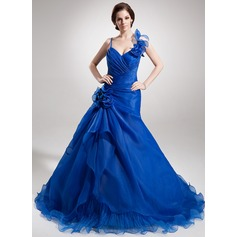 A-Line/Princess Sweetheart Court Train Organza Quinceanera Dress With Beading Flower(s) Cascading Ruffles
