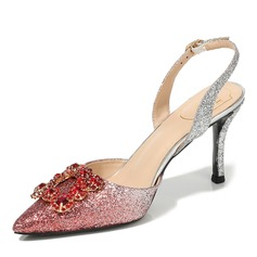 Women's Sparkling Glitter Stiletto Heel Closed Toe Slingbacks With Buckle Crystal