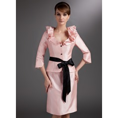 Sheath/Column V-neck Knee-Length Taffeta Mother of the Bride Dress With Sash Flower(s) Bow(s) Cascading Ruffles