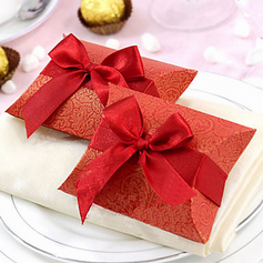Classic Pillow Favor Boxes With Ribbons (Set of 12)