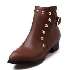 Donna Similpelle Tacco basso Stiletto Punta chiusa Stivali Stivali alla caviglia Martin boots Stivali da equitazione con Rivet Fibbia scarpe