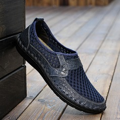 Men's Microfiber Leather Mesh Penny Loafer Casual Men's Loafers