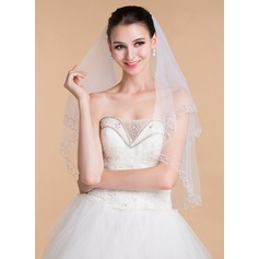 Two-tier Beaded Edge Elbow Bridal Veils With Beading (006096789)