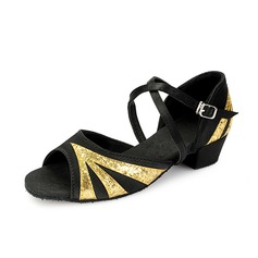 Kids' Satin Sparkling Glitter Heels Sandals Latin With Ankle Strap Dance Shoes