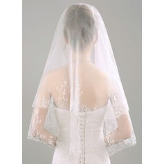 Two-tier Lace Applique Edge Elbow Bridal Veils With Embossed Fabric (006118520)