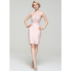 Sheath/Column Scoop Neck Knee-Length Jersey Cocktail Dress With Beading Sequins (016094598)