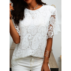 Lace Solid Round Neck Short Sleeves Casual Elegant Blouses (1003251393)