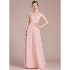 A-Line/Princess Scoop Neck Floor-Length Chiffon Lace Prom Dresses With Beading Bow(s) (018116380)