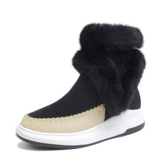 Women's Suede PU Wedge Heel Boots Mid-Calf Boots Snow Boots With Zipper shoes