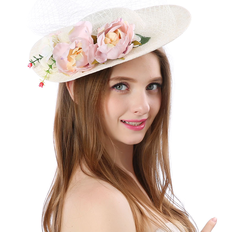 Ladies' Beautiful/Gorgeous/Fashion/Special Linen With Flower Beach/Sun Hats