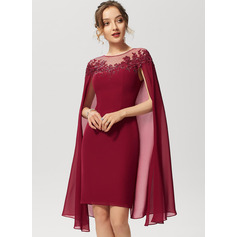 Sheath/Column Scoop Neck Knee-Length Chiffon Cocktail Dress With Lace Sequins (016230184)
