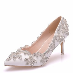 Women's Leatherette Stiletto Heel Pumps With Crystal