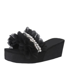 Women's Corn Bran Wedge Heel Wedges Slippers With Imitation Pearl Ruched shoes (116155082)