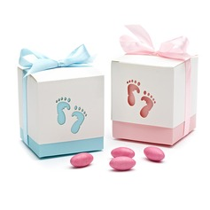 Feet Cut-out Cubic Favor Boxes With Ribbons (Set of 12)