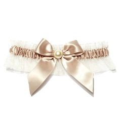 Glamourous Satin With Pearl Wedding Garters