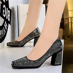 Women's PU Chunky Heel Pumps With Rhinestone shoes