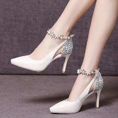 Women's Real Leather Stiletto Heel Closed Toe Pumps Beach Wedding Shoes With Sparkling Glitter Flower