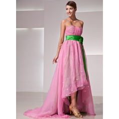 Empire Sweetheart Asymmetrical Organza Prom Dress With Ruffle Flower(s)