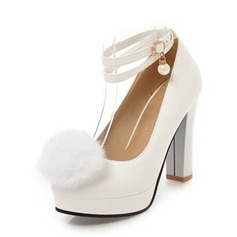 Women's PU Chunky Heel Pumps Platform Closed Toe With Imitation Pearl Others shoes