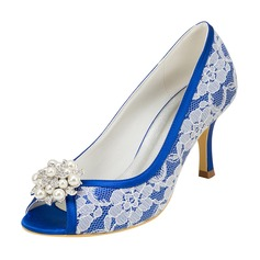 Women's Lace Silk Like Satin Cone Heel Peep Toe With Crystal Pearl